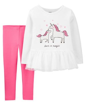 Carter's 2 Piece Unicorn Peplum Top & Legging Set - Pink White