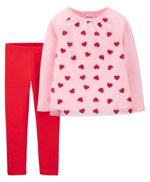 Carter's Full Sleeves Top With Lounge Pant Heart Print - Pink Red
