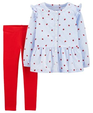 Carter's 2 Piece Ladybug Button Front Top & Legging Set - Blue Red
