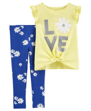 Carter's 2 Piece Love Flutter Tie Front Tee & Floral Legging Set - Yellow Blue