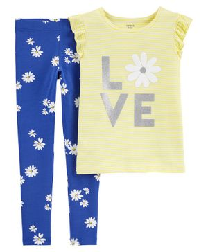 Carter's 2-Piece Love Flutter Tie-Front Tee & Floral Legging Set - Yellow & Blue