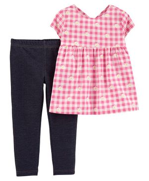 Carter's 2 Piece Floral Gingham Top & Knit Denim Leggings Set - Pink