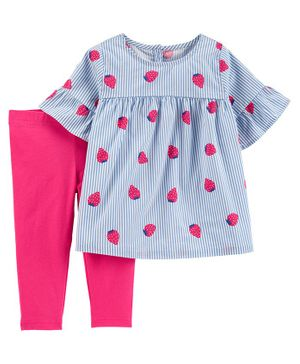 Carter's 2 Piece Striped Strawberry Top & Legging Set - Blue Pink