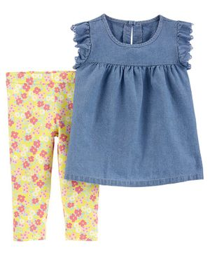 Carter's 2 Piece Chambray Top & Floral Legging Set - Blue