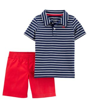 Carter's 2 Piece Striped Slub Polo Short Set - Blue Red