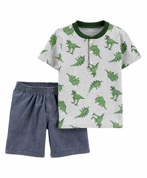 2-Piece Dinosaur Jersey Henley & Chambray Short Set - Grey