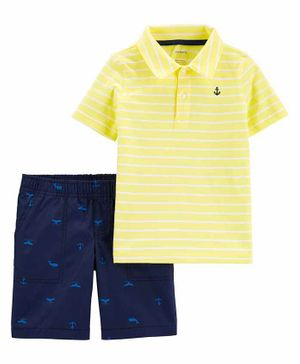 Carter's 2-Piece Striped Polo & Whale Short Set - Yellow Blue