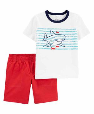 Carter's Half Sleeves 100% Cotton Tee & Shorts Set Shark Print - White Red