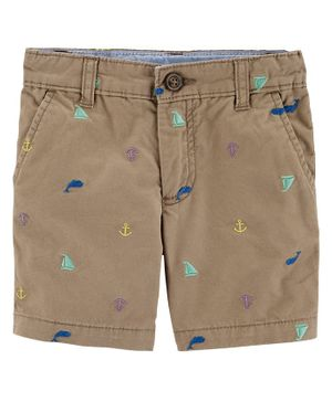Carter's Schiffli Flat-Front Shorts - Brown
