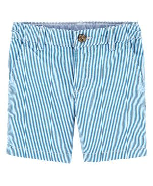 Carter's Striped Flat-Front Shorts - Blue
