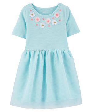 Carter's Floral Tutu Jersey Dress - Blue