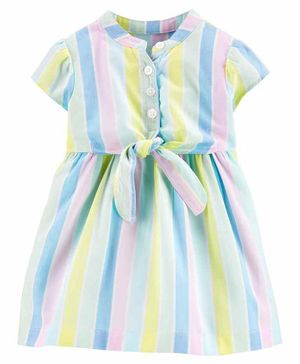 Carter's Striped Bow Dress with Bloomer - Blue Green Pink