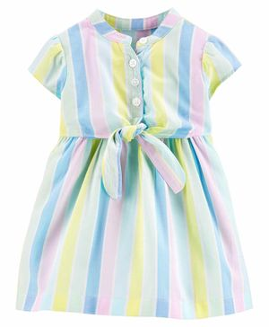 Carter's Striped Bow Dress - Blue Green Pink
