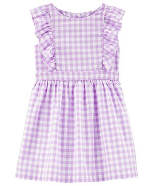 Carter's Gingham Flutter Dress - Purple White