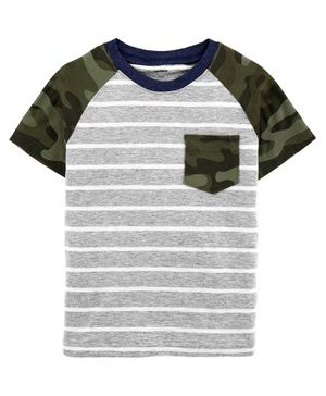 Carter's Striped Camo Pocket Jersey Tee - Multicolor