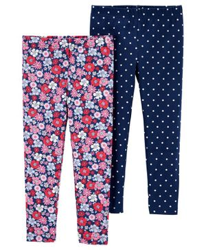 Carter's 2-Pack Floral & Polka Dot Leggings - Red and Blue