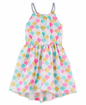 Carter's Sleeveless Frock Mermaid Scale Print - Pink Blue