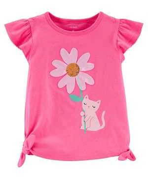 Carter's Daisy Cat Jersey Top - Pink