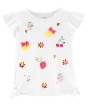 Carter's Glitter Fruit Jersey Top - White