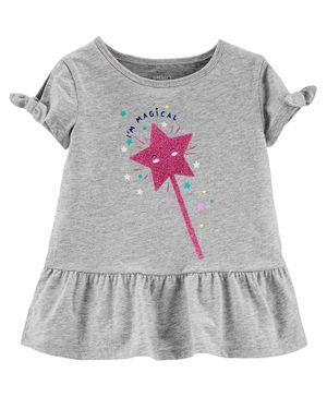 Carter's Glitter Wand Peplum Top - Grey