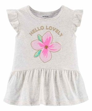 Carter's Glitter Flower Peplum Top - Grey