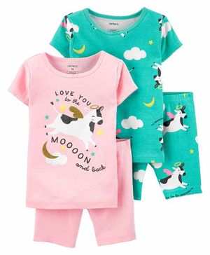 Carter's 4-Piece Cow Snug Fit Cotton PJs - Pink Green