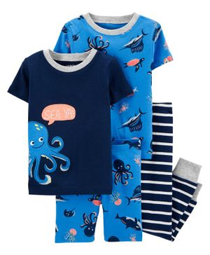Carter's 4-Piece Octopus Snug Fit Cotton PJs - Blue