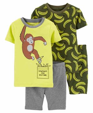 Carter's 4-Piece Monkey Snug Fit Cotton Night Wear - Yellow Green