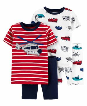 Carter's 4-Piece Helicopter Snug Fit Cotton PJs - Red White Navy Blue