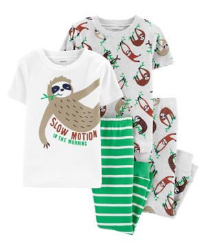 Carter's 4-Piece Sloth Snug Fit Cotton PJs -  White Green Grey