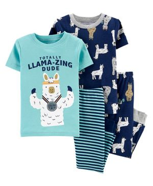 Carter's 4-Piece Llama Snug Fit Cotton PJs - Blue