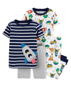 Carter's 4-Piece Rocket Ship Snug Fit Cotton PJs - Blue Grey White