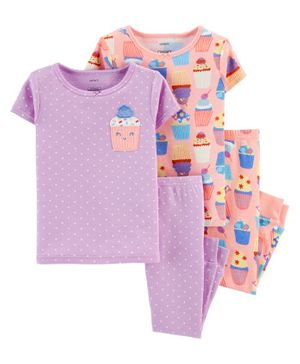 Carter's 4-Piece Cupcake Snug Fit Cotton PJs - Purple Peach