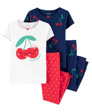 Carter's 4-Piece Cherry Snug Fit Cotton PJs - White Red Navy