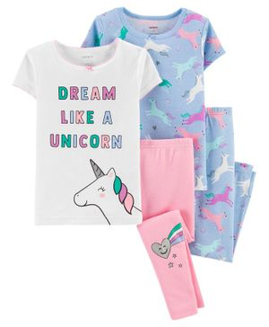 Carter's 4-Piece Unicorn Snug Fit Cotton PJs - Blue White Pink