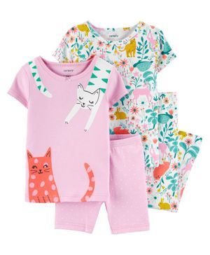 Carter's 4-Piece Floral Cat Snug Fit Cotton PJs - Multicolor