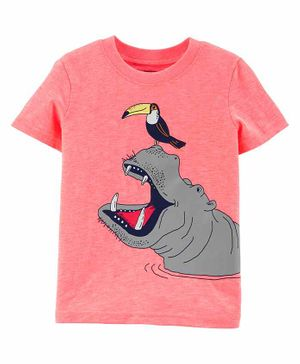 Carter's Short Sleeves Tee Hippo Print - Peach