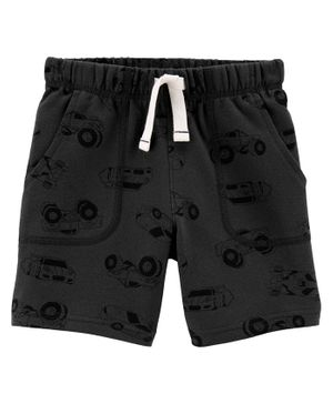Carter's Cars Pull-On French Terry Shorts - Dark Grey