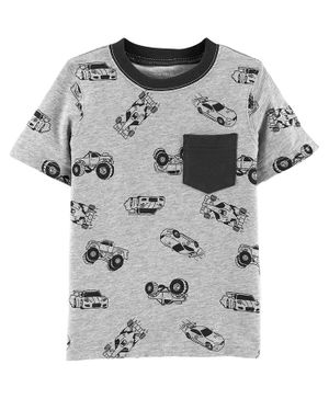 Carter's Race Car Slub Jersey Pocket Tee - Grey