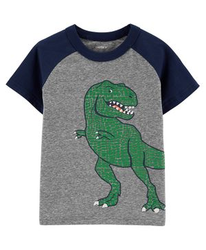 Carter's Dinosaur Raglan Snow Yarn Tee - Grey
