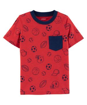 Carter's Sports Slub Jersey Pocket Tee - Red