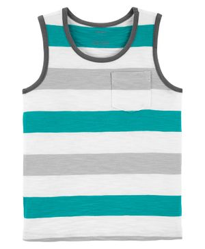 Carter's Striped Slub Jersey Tank - Blue White