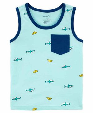 Carter's Sleeveless Tee Pizza & Shark Print - Blue