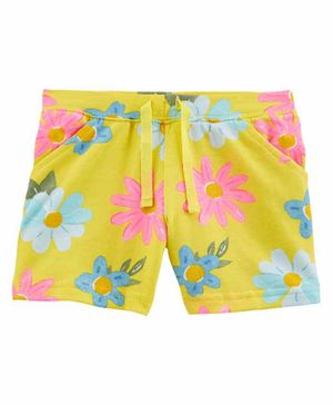 Carter's Floral Pull-On French Terry Shorts - Yellow