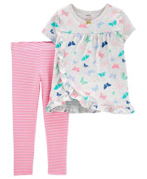 Carter's Half Sleeves Top With leggings Butterfly Print - Grey Pink