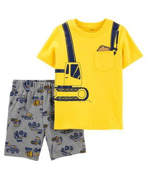 Carter's 2 Piece Construction Jersey Tee & French Terry Short Set - Yellow Grey