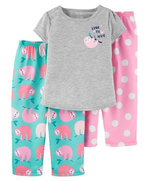 Carter's Printed Short Sleeves Night Suit Combo Pack - Pink Grey Sea Green