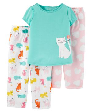 Carter's Short Sleeves Night Suit Kitty Print Combo Pack - Pink White Sea Green