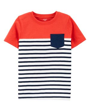 Carter's Half Sleeves Striped Tee - Red