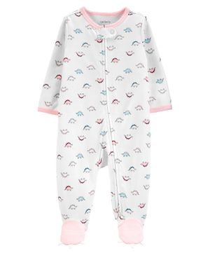 Carter's Dinosaur 2-Way Zip Cotton Sleep & Play - White